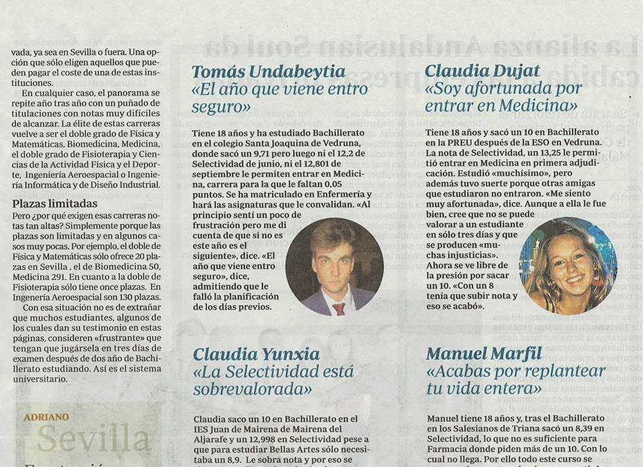 Claudia Dujat, ejemplo de alumna excelente para el periódico ABC